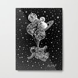 'SOAR' Original Astronaut Drawing - Outer Space - Planets - Wall Art Metal Print