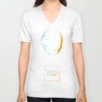 daft punk V-neck T-shirts featuring daft punk  by sgrunfo