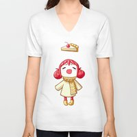 pie V-neck T-shirts featuring Cherry Pie by Freeminds