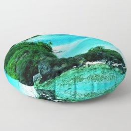 Tahiti Motu (Island) in French Polynesia Floor Pillow