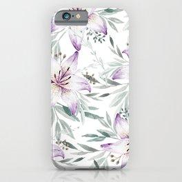 Lilium & Eucalyptus pattern iPhone Case
