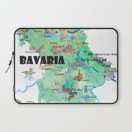 Bavaria Germany Illustrated Travel Poster Map Laptop Sleeve