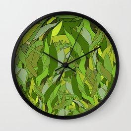 Green Bamboo Leaves Wall Clock