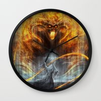 lotr Wall Clocks featuring 'You shall not pass' by jasric
