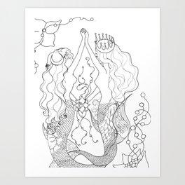 Two mermaids, many pearls Art Print