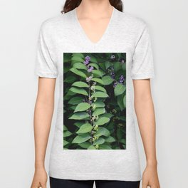 Purple and Green Berries still on the branch - Oil Painted from Photo Unisex V-Neck