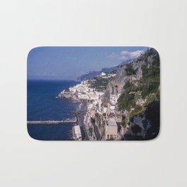 Amalfi Drive Coastal View, Vintage 1940's color photo, Italy Bath Mat