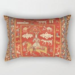 Kuba Hunting Rug With Birds Horses Camels Print Rectangular Pillow