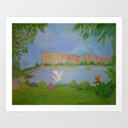 Habitat of Snowy Egret Art Print