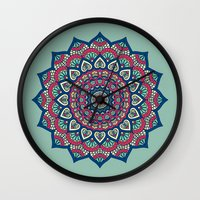 islam Wall Clocks featuring Mandala Blue by Mantra Mandala