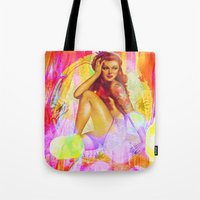 "tatoo Tote Bags featuring "" Miss tatoo ""  by shiva camille"