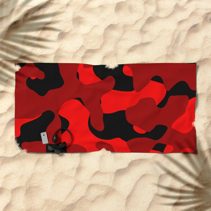 Black and Red Camo abstract Beach Towel