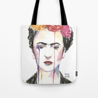 frida Tote Bags featuring Frida by SirScm