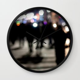 People Crossing the Street at Night Wall Clock