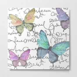 Butterflies  (white) Metal Print