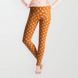 Tiny Paw Prints Pattern - Bright Orange & White Leggings