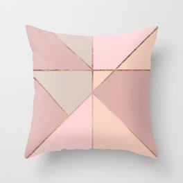 Modern rose gold peach blush pink color block Throw Pillow