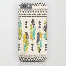 Painted Feathers-Cream Slim Case iPhone 6