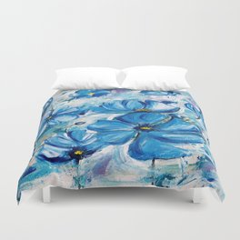 Abstract Blue Poppies Duvet Cover