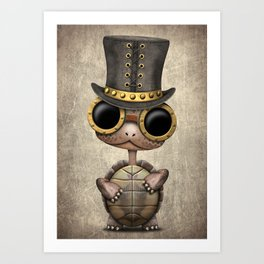Cute Steampunk Baby Turtle Art Print