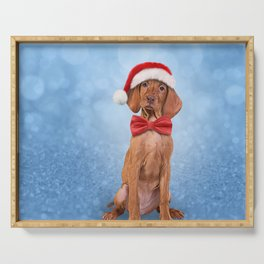 Drawing funny Vizsla pointer in red hat of Santa Claus Serving Tray