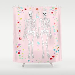 together forever pink background Shower Curtain