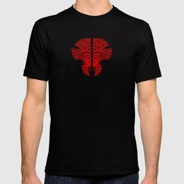 Red and Black Aztec Twins Mask Illusion T-shirt