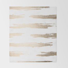 Simply Brushed Stripe White Gold Sands on White Throw Blanket