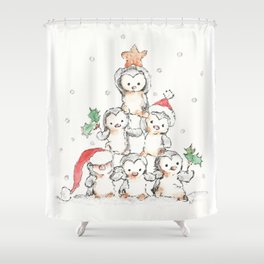 Oh Penguin Tree Shower Curtain