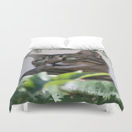 Tabby Cat Sitting In The Shade Behind Passiflora Vine Duvet Cover