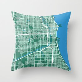 Chicago Map | Green & Blue Colors Throw Pillow