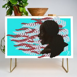 Black woman with braids floral Credenza