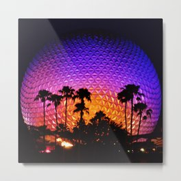 Epcot Ball at Night with Palm Trees Metal Print