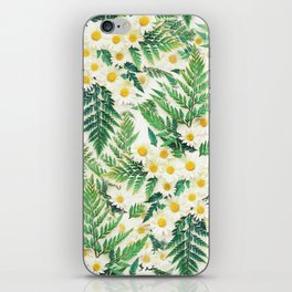 Textured Vintage Daisy and Fern Pattern  iPhone Skin