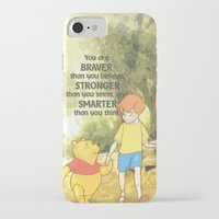 winnie the pooh iPhone & iPod Cases featuring WINNIE THE POOH by DisPrints