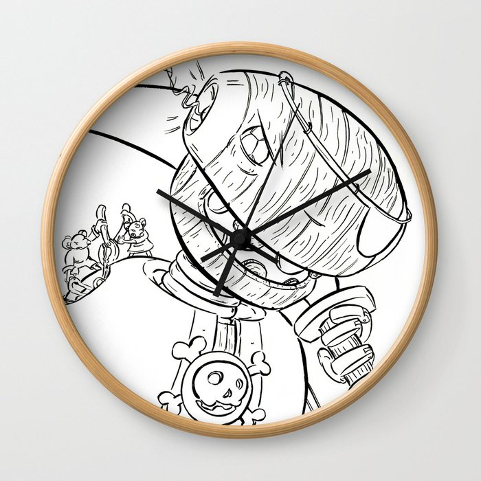 Robot Pirate - ink Wall Clock