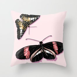 Papillon rouge et noir Throw Pillow