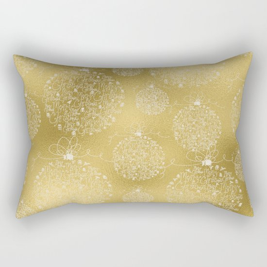 Merry christmas- christmas balls on gold pattern Rectangular Pillow