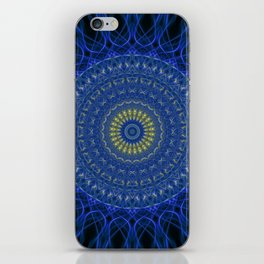 Mandala in dark blue tones with yellow flower iPhone Skin