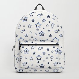 Blue stars on a white background. Backpack