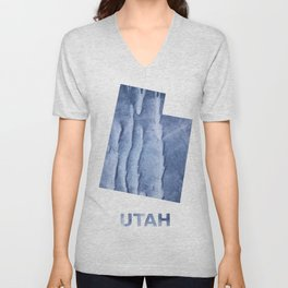 Utah map outline Blue watercolor Unisex V-Neck