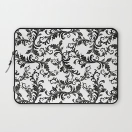 Vintage stylish black white elegant floral damask Laptop Sleeve