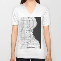 milwaukee V-neck T-shirts featuring Milwaukee Map Gray by City Art Posters