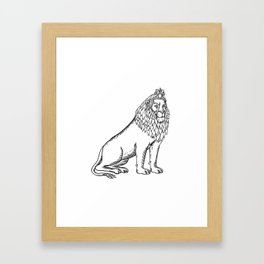 Etching style illustration of a blue male lion with red mane wearing a tiara or crown sitting down d Framed Art Print