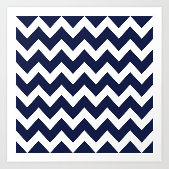 Chevron Navy Blue Art Print
