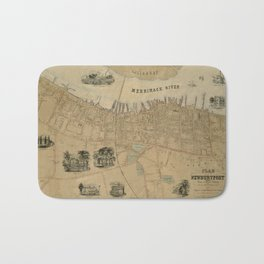Map of Newburyport 1851 Bath Mat