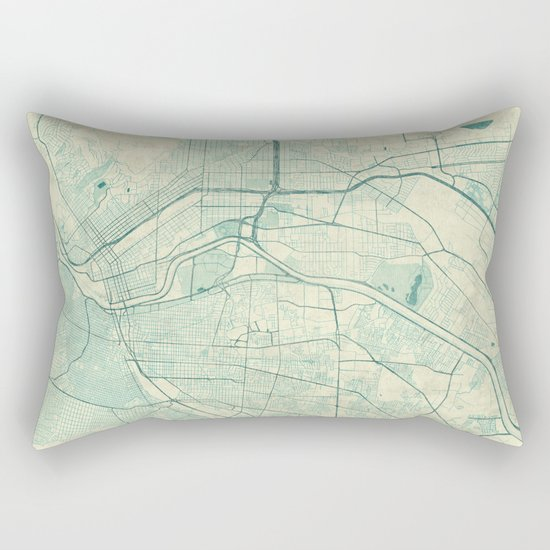 El Paso Map Blue Vintage Rectangular Pillow