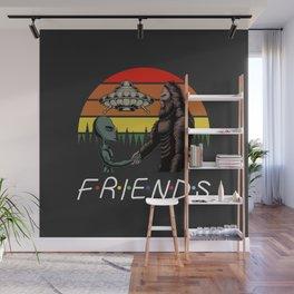 Alien and bigfoot frienship aliance. Wall Mural