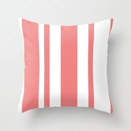 Mixed Vertical Stripes - White and Coral Pink Throw Pillow