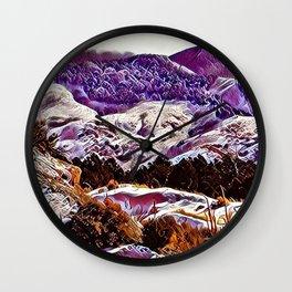 Winter Purple Pink Hills by CheyAnne Sexton Wall Clock